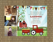 Printable Farm Birthday Invitation - Kids Barn Invitation - Vintage Farm Invitation - Tractor Invitation
