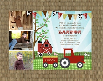 Printable Farm Birthday Invitation - Kids Barn Invitation - Vintage Farm Invitation - Tractor Invitation