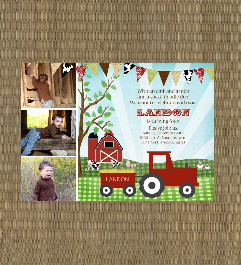 Printable Farm Birthday Invitation Kids by EThreeDesignStudio