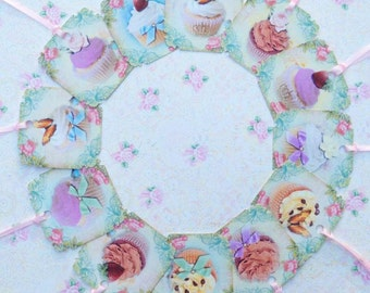 Cup Cakes In Spring   Gift Tags set of 12 Medium Size Wedding Shower   No.415