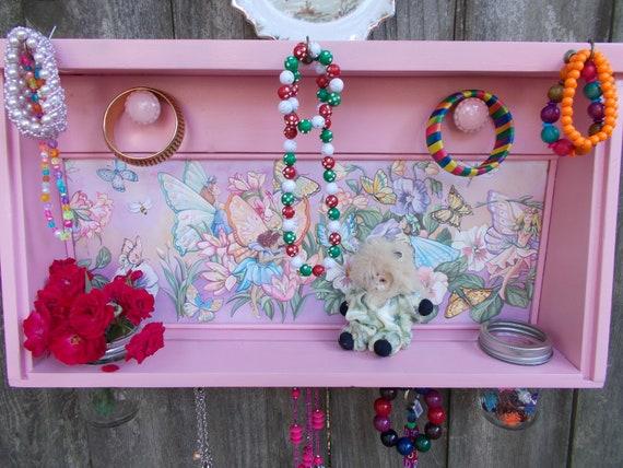 Wood Shelf/Jewelry Display Shelf/Wall Decor/Pink Wall shelf/Girls Bedroom Decor