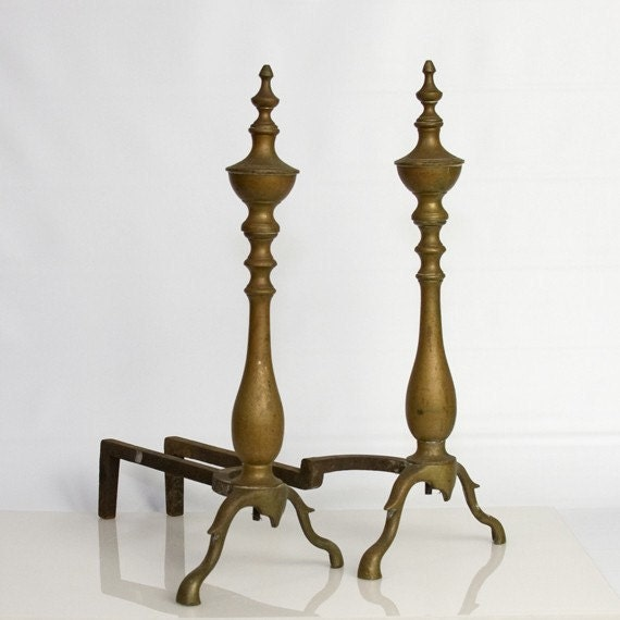 Andirons - Fireplace, Brass, Classic, Antique