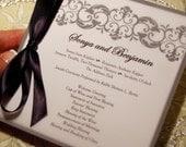 Damask Ball Wedding Program in Vellum or Event Program