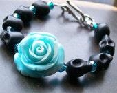 Blue Rose and Black Sugar Skull Bracelet