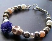 Day of the Dead Bracelet Purple Rose and Skull Bracelet