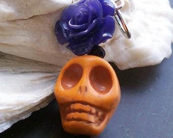 Halloween Sugar skull and Flower Pendant