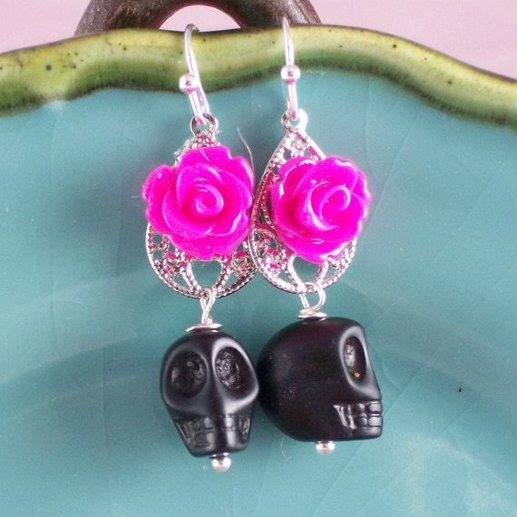 Rose Skull Zombie earrings Hot Pink Rose and Black Sugar Skull Zombie Earrings