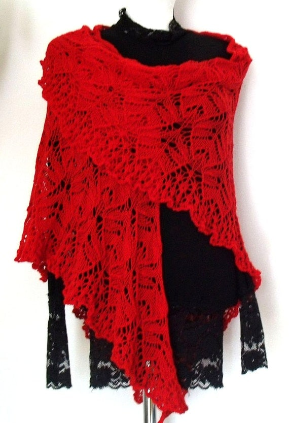 Hand knitted red elegant lace triangle shawl luxurious delicate merino wool Red Tulips