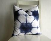 Shibori Pillow Cover - 14 x 14  in Navy Blue
