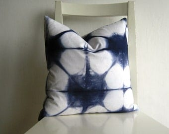 14 x 14  Shibori Pillow Cover in Navy Blue