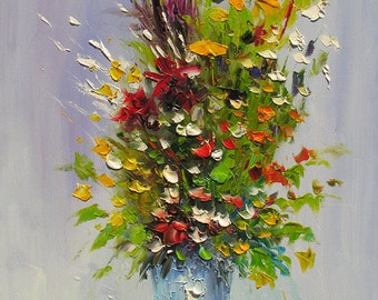 ORIGINAL Oil Painting MADE2ORDER Palette Knife Colorful Flowers Green Vase Yellow Red Wild Flower Handmade office home Blue Art by Marchella