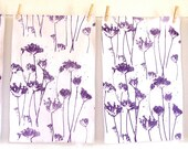 tea towels hand printed plum on white set of 2 Queen Anne's lace
