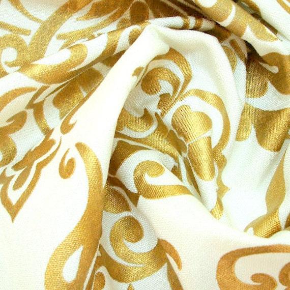Ivory Jute Gold Printed Damask Ivory Burlap Jute Fabric
