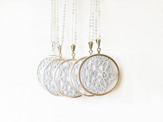 Grey lace necklaces for bridesmaids l009