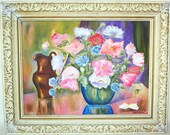 Mid Century Modern Signed Still Life Floral and Copper Pitcher Painting with Carved Wooden Frame Beautiful Colors