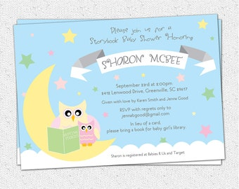 Baby Shower Invitation, Printable, Story Book Themed mom and baby Owl, Moon and Stars, Girl, Pastels, Modern DIY Digital File