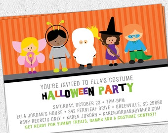 Printable Halloween Invitation, Birthday Party, Costume, Kids, Children, Trick or Treat, DIY Digital File