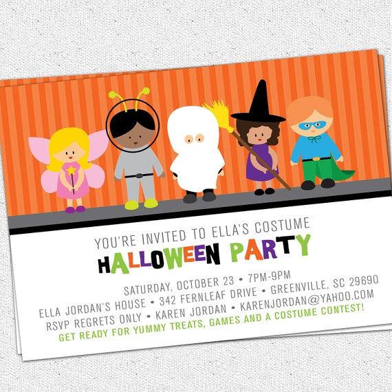 Items similar to Printable Halloween Invitation Birthday Party – Kids Halloween Party Invite