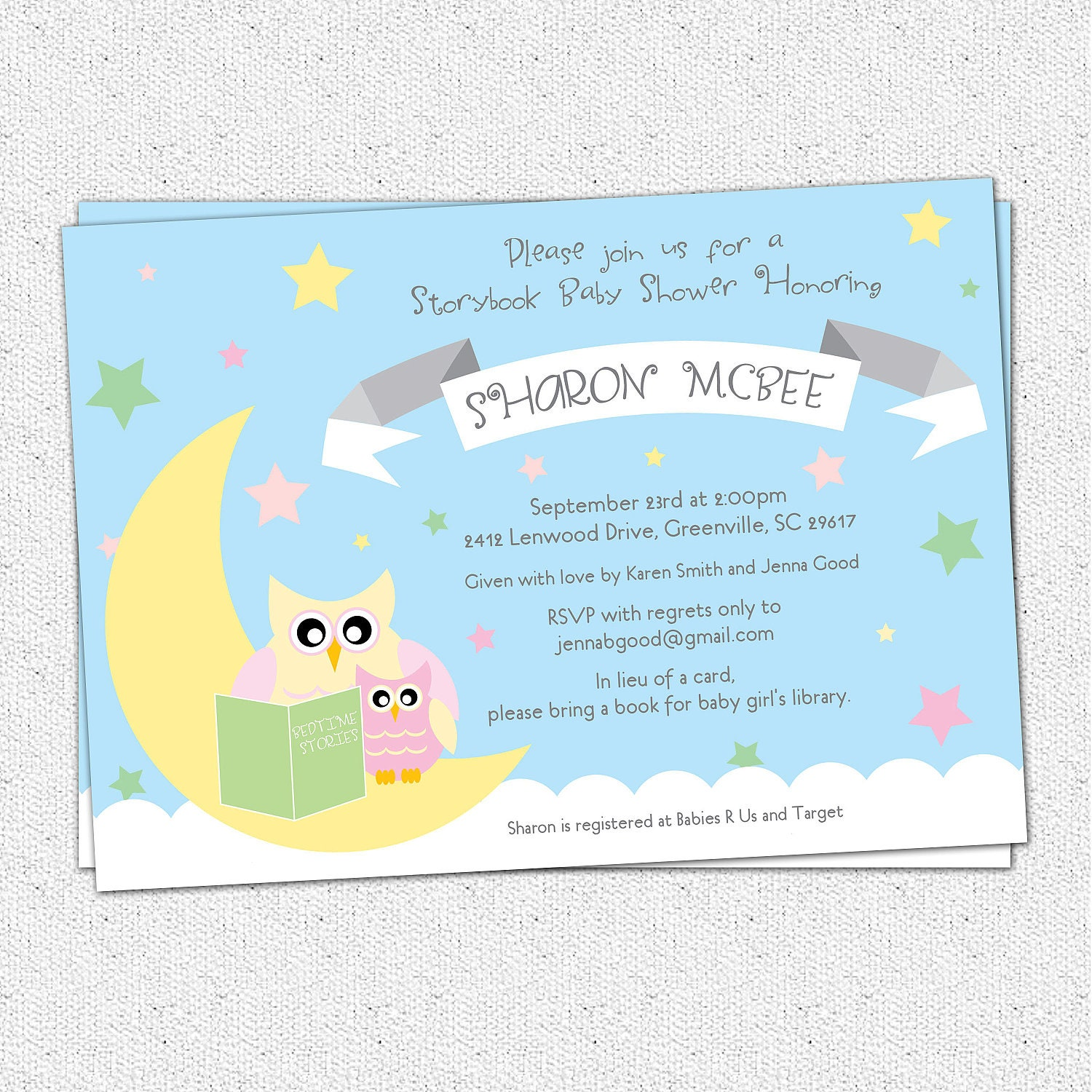 Baby Shower Invitation Printable Story Book Themed mom and