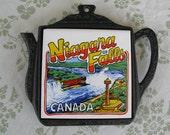 SALE - Vintage Souvenir Trivet, Niagara Falls Canada, Ceramic Tile and Cast Iron or Metal, Taiwan