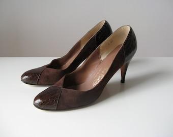 Brown Betty / vintage snakeskin and suede heels