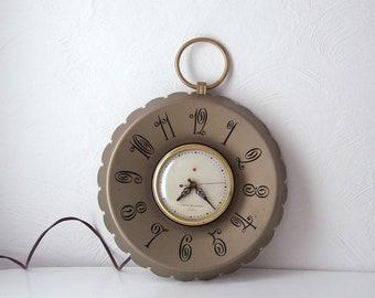 vintage GE telechron clock - gold pocket watch - mid century wall clock