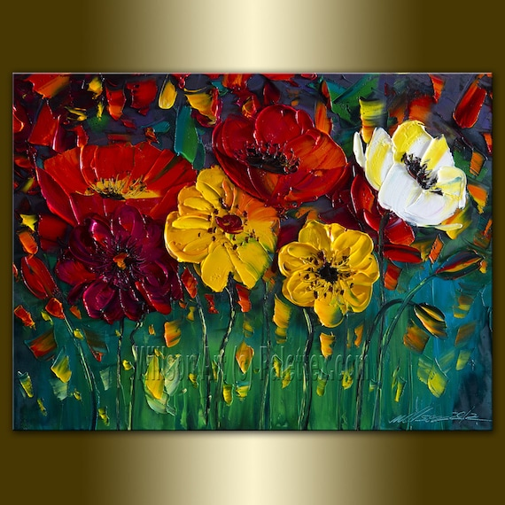Original Poppy Poppies Textured Palette Knife Oil Painting