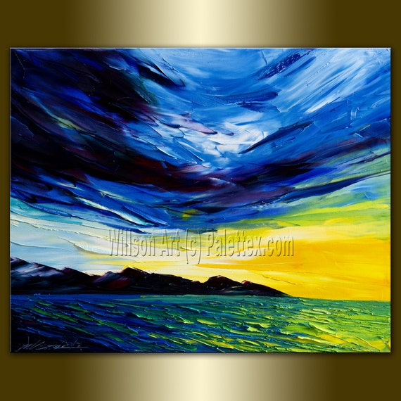 Original Sunrise over the Sea Textured Palette Knife Seascape Painting Oil on Canvas Abstract Modern Art 16X20