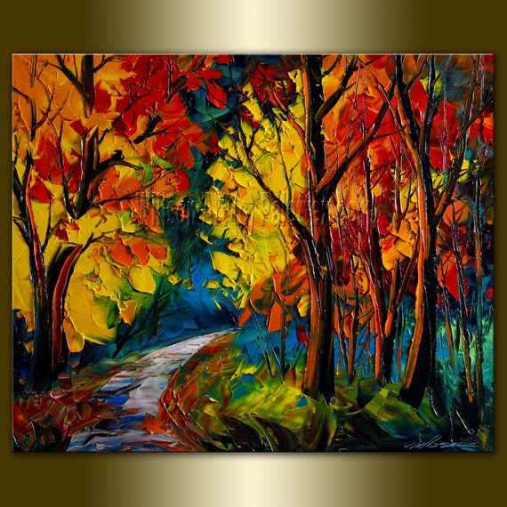 Original Landscape Painting Oil on Canvas Textured Palette Knife Contemporary Modern Tree Art Seasons 20X24 by Willson