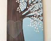 Personalized Wedding Honey Tree Painting With White Leaves Original Art  on 8 x 10 Canvas