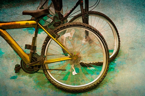 Bicycles, Wheels, Tires, Spokes, Pedals an Impressionistic Retro Photographic Fine Art Wall Decor Image