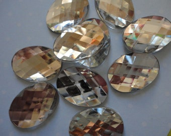 Clear faceted acrylic rhinestone decoden phone deco diy oval     10 pcs--USA seller