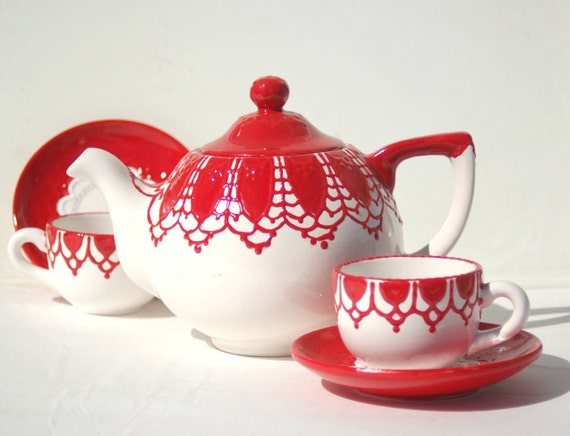 Red lace teapot  hand painted