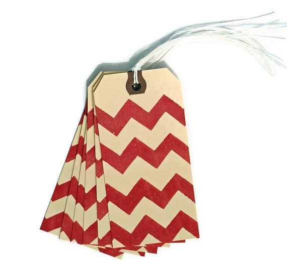Red Chevron Gift Tags Set of 6 Handmade Packaging Gift Wrap Scrapbooking Wedding Place Cards