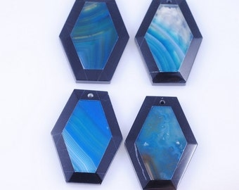 4 Pieces Blue Stripe Agate and Black Onyx Intarsia pendant bead G1S166876