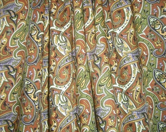 Brown and Olive Paisley Print Pure Pima Cotton Lawn Fabric--One Yard
