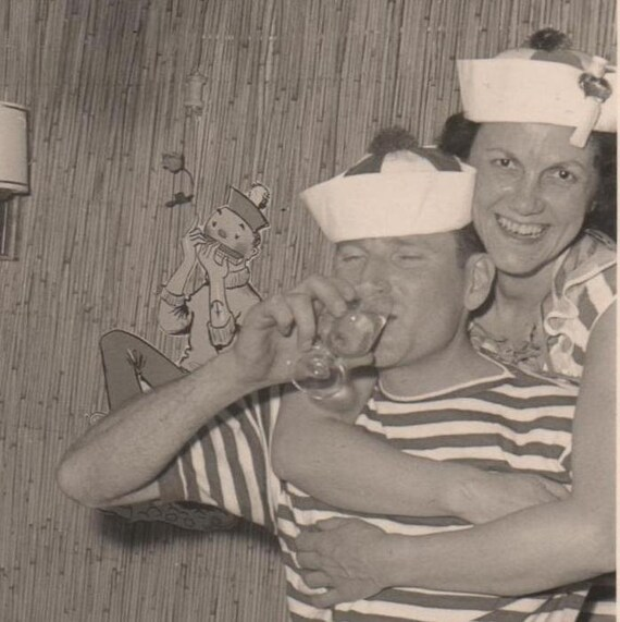 Vintage Photo Adorable Costume Party Couple 1950s Cartoon Sailor Clowns Snapshot