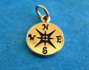 Bronze Stamped Compass Disc Tag Charm