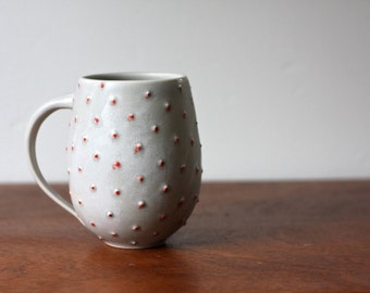 Pottery Coffee Mug - Matte Gray Belly Mug with Red Polka Dots - Large Ceramic Cup