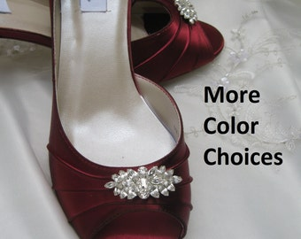 Wedding Shoes Apple Red Bridal Shoes Crystal Design -100 Additional Colors To Pick From