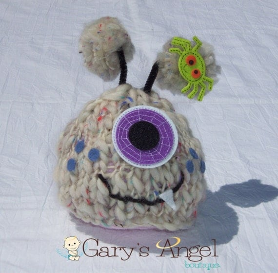 Newborn Monster hat great photography prop for halloween ready to ship