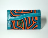 South Industry Tri-fold blue leather Mola women's wallet