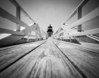 Nautical Photograph Lighthouse Marshall Point Print Black and White Landscape