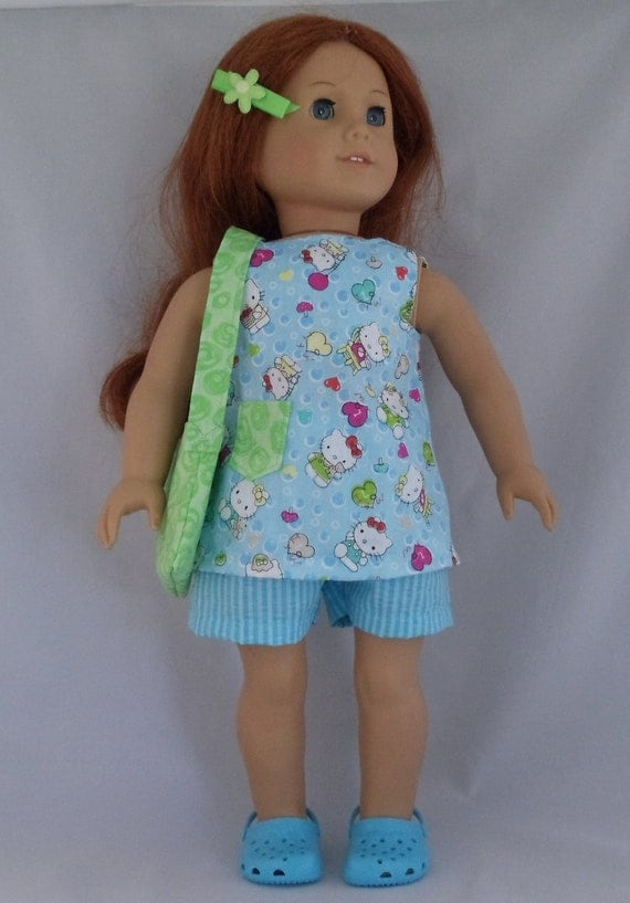American Girl Doll Hello Kitty Top  Shorts in Blue Outfit Fits Other 18 Inch Dolls