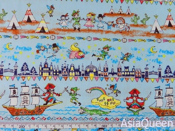 Cotton fabric - Peter pan - blue - 2 yards - cotton