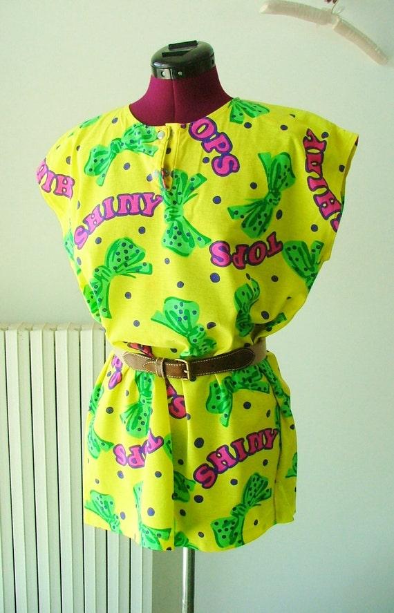 Vintage 80s 90s fluorescent beach shirt sundress / swimsuit cover up / beachwear / summer  /swimwear