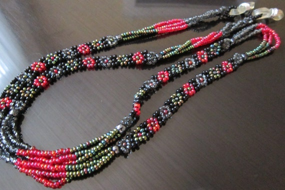 Necklace, Eyeglass Chain Red and Black Beads
