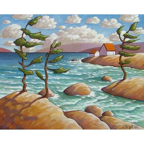 PAINTING ORIGINAL Folk Art Windy Ocean Waves Modern Rock Trees Landscape Contemporary Summer Seascape Artwork  Cathy Horvath Buchanan 16x20