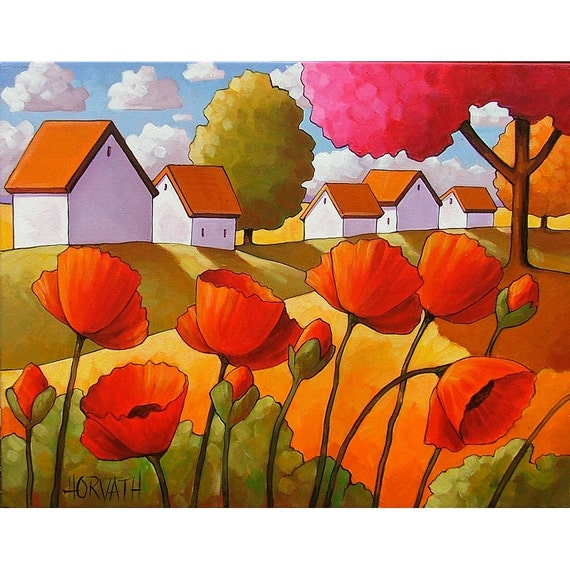PAINTING ORIGINAL Folk Art Red Poppies Autumn Tree Colors White Cottages Abstract Modern Fall Landscape Artwork Cathy Horvath Buchanan 14x18