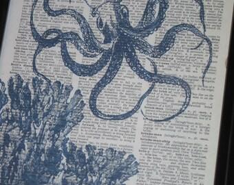 BOGO SALE Sea Life Art Print Ocean Art Print Dictionary Art Print Octopus  Art Print Wall Art A HHP Original Design 8 x 10 Blue Print 5